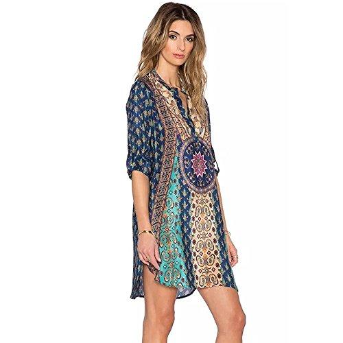 Robe Femme Koly Femmes Bohemian Cravate Vintage Imprimé Style Ethnique Shift Summer Dress Bleu-01