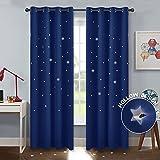 PONY DANCE Lichtundurchlässige Vorhang Sterne - Verdunkelungsgardinen mit Ösen für Wohnzimmer Kinderzimmer Schlafzimmer H 240 x B 132 cm, 2er Set, Blau