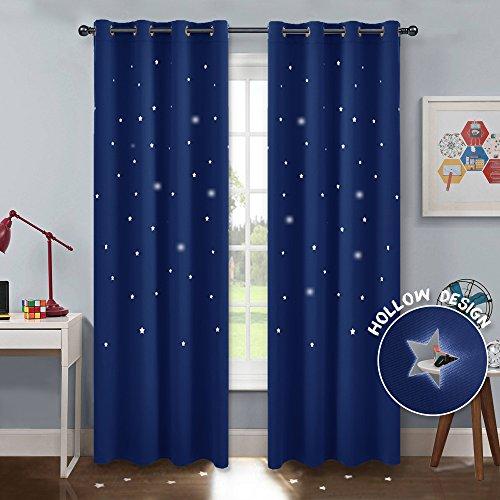 Pony dance drappeggi termiche bambini con stelle vuote colore blu/tende oscuranti antimosche per finestre soggiorno camera da letto salone, 132 x 240 cm (l x a), 2 pezzi