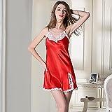 BXYR Albornoz de Lujo Sling para Mujer Camisón Lateral Abierto Pijamas Sexy de Encaje Invierno Home Relajado y Cómodo Home Hotel Albornoz Vestido de Pareja (Color : Rojo, Size : XL)