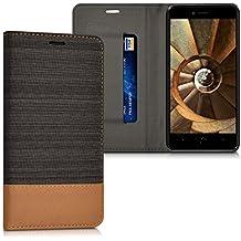 kwmobile Funda Flip Case para bq Aquaris U Plus - Funda protectora Bookstyle de polipiel y tela en antracita marrón