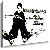 charlie chaplin leinwandbild laraart bilder schwarz weiss wandbild 150 x 100 cm