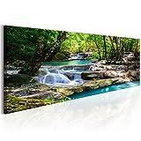 decomonkey Bilder Wasserfall 120x40 cm | 1 Teilig | Leinwandbilder | Vlies Leinwand | Wandbilder | Wand | Bild | Wandbild | Kunstdruck | Wanddeko | Wald Natur Landschaft
