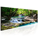 decomonkey | Bilder Wasserfall 120x40 cm | 1 Teilig | Leinwandbilder | Bild auf Leinwand | Vlies | Wandbild | Kunstdruck | Wanddeko | Wand | Wohnzimmer | Wanddekoration | Deko | Wald Natur Landschaft
