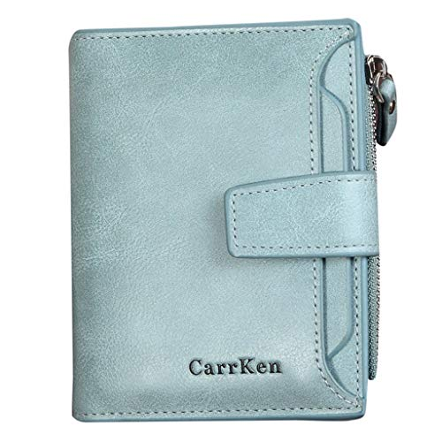 Sunnywill Herren Geldbörsen Groß Viele Fächer Leder Glitzer mit ReißVerschluss Brieftasche Freizeit Slim Leder Mini Brieftasche Kreditkarte Trifold Münze -