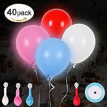 40 piezas Globos de LED Luces con una Cinta Azul para Decoración de Boda Habitación Fiesta Partido Comunión Cumpleaños Navidad Reunión Ceremonia etc,AGPTEK Q2