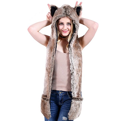 Frauen Lange Earflate Cap Künstliche Pelz Headwear Cosplay Kostüm Tier Pelzigen Hoodie (Braun B) (Kätzchen Handschuhe Halloween Kostüm)