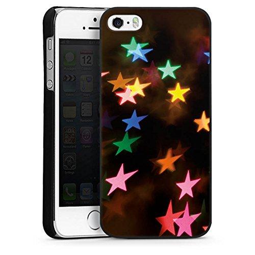 Apple iPhone 4 Housse Étui Silicone Coque Protection Étoiles couleurs Motif CasDur noir