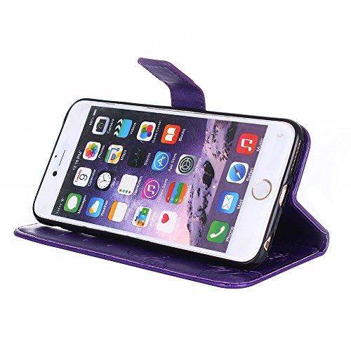 Cover iPhone 6S, Custodia iPhone 6, Caselover Custodia Libro Flip PU Portafoglio per Apple iPhone 6S / 6 (4.7 pollici) Magnetico Snap-on con Funzione Appoggio Supporto in Pelle Protettiva Copertura In Viola