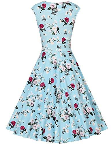 MUXXN Rétro robe de soirée de cocktail de années 1950 de femme du style d'Audrey Hepburn Blue Plum Flower