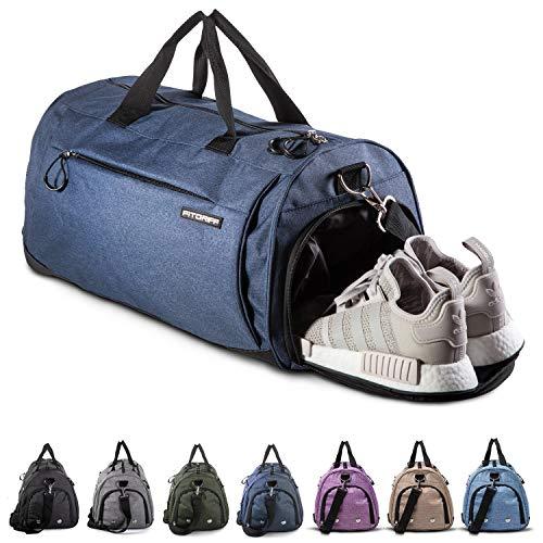Fitgriff® Sporttasche Reisetasche mit Schuhfach & Nassfach - Männer & Frauen Fitnesstasche - Tasche für Sport, Fitness, Gym - Travel Bag & Duffel Bag 48cm x 26cm x 25cm [30 Liter] (Blau, Small)