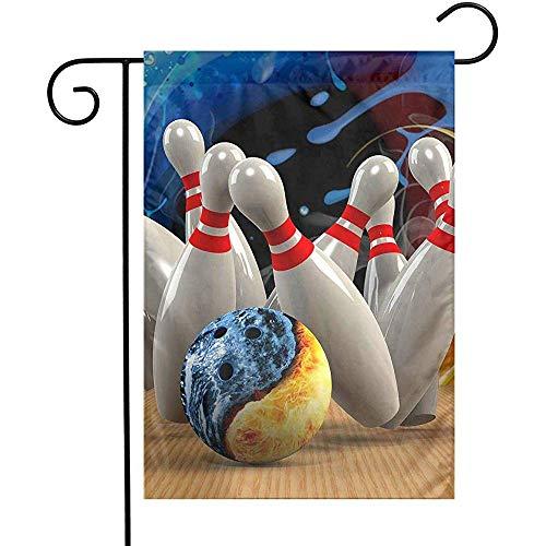 AmyNovelty Home Garden Flags,Blaue Und Gelbe Bowling-Polyester-Gartenflaggen Für Gartenhof 32x45.7cm