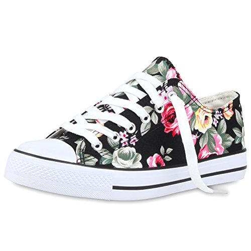 Blumen Blumen-print (SCARPE VITA Damen Sneakers Blumen Prints Sportschuhe Freizeitschuhe 160452 Schwarz Muster 38)