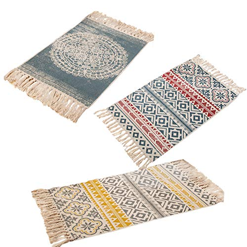 farmer-W Retro Dekorative Baumwollbereich Teppich, Handgewebte Maschinenwaschbare Flickenteppich Eingang Dünne Bodenmatte Teppich mit Quaste für Wohnzimmer Schlafzimmer - Natürlichen Läufer Teppich