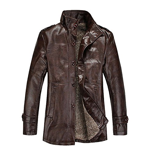Modo Vivendi | Mens PU Leather Jackets with Fur | Men Winter Windproof Thermal Coats | Male Slim Casual Jackets Soft Faux Leather (Coffee