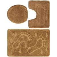 3 Teiliges Badgarnitur Set Füße Muster Mit Ausschnitt   Badteppich 85x55  Badematte ...