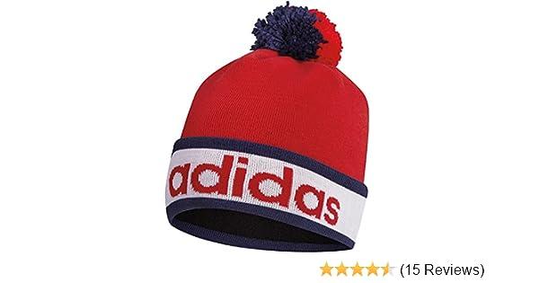 cc08645f0e8 Adidas 2015 ClimaHeat Pom Pom Beanie Mens Golf Bobble Hat Red   Amazon.co.uk  Sports   Outdoors
