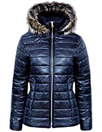CANDY FLOSS NEW LADIES SHINY WET LOOK PUFFER QUILTED FUR HOODED WOMENS BUBBLE JACKET COAT TOP