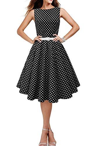 Black Butterfly 'Audrey' Vestido de Lunares Vintage Años 50 (Negro, E
