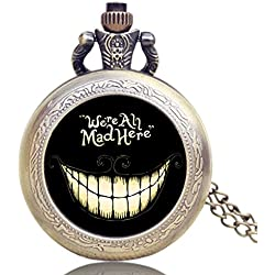 "ALICE IN WONDERLAND ""We're All Mad Here"" Brushed Bronze Effect Retro/Vintage Case Women's Quartz Pocket Watch Necklace - On 32"" Inch / 80cm Chain"