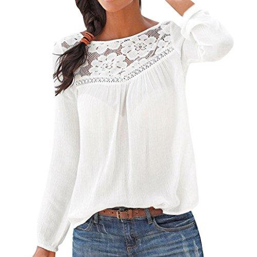 Floral Shirt Jacke (TIFIY Damen damens Casual Spitze Patchwork Flare Rüschen Kurzarm Sommer Cute Floral Shirt Lose Bluse Top (2L, Y_Weiß))