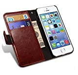 HOM Wallet Book Design Phone Case with Flip Cover and Credit Card Slot, Magnetic Closure, Stand View Case For Apple iPhone 4s - Brown Colour
