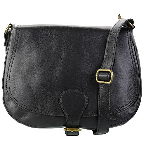 Olivia - Sac à main Sac bandoulière femme Cuir marron chocolat noir N1336 Sac en cuir véritable de haute qualité - Noir, Cuir schwarz