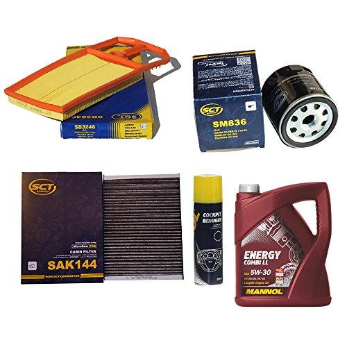 Preisvergleich Produktbild Inspektionspaket SCT Aktivkohle Pollenfilter VW Golf 4 1.4 16V & 1.6 16V (55/77kW) Luftfilter Ölfilter + 5 Liter Mannol Motoröl Energy Combi LL + Geschenk