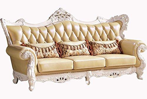 Ma Xiaoying echtem Leder und Luxus klassischen Collection 3-teiliges Set (Sofa, Stuhl und Liebesschaukel) hellgelb by MA Xiaoying - 2