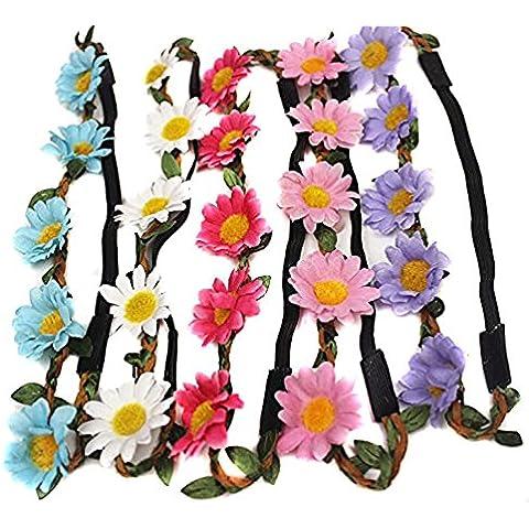5pcs Daisy floreale da donna in stile boho floreale fascia Ghirlanda Crown Halo fascia per capelli copricapo Copricapo per matrimonio festa party