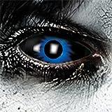 Funlinsen Blue Damon Sclera-Markenqualität- 1 PAAR-D-22mm-Blau-schwarze Linsen,Cosplay, Larp, Zombie Kontaktlinsen, Crazy Funlinsen, Halloween, Fastnacht,Vampir