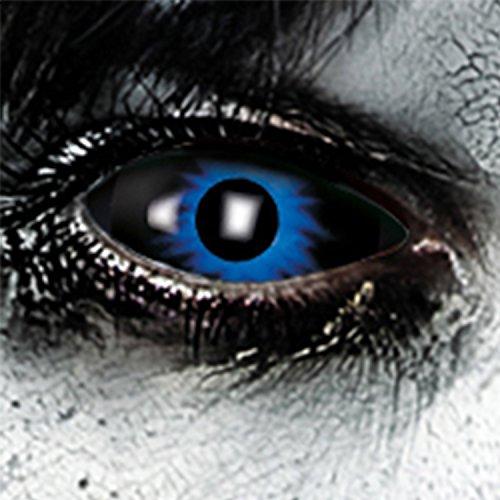 Funlinsen Blue Damon Sclera-Markenqualität- 1 PAAR-D-22mm-Blau-schwarze Linsen,Cosplay, Larp, Zombie Kontaktlinsen, Crazy Funlinsen, Halloween, ()