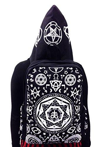 Verboten Apparel Schwarz Pentagramm mit Kapuze Rucksack