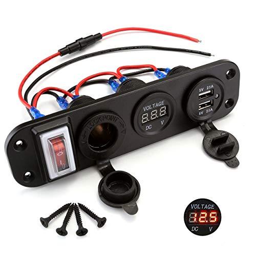 ACBungji Dual USB Ladegerät 12v Steckdose LED Voltmeter für 12V 24V Auto Boot Marine KFZ LKW PKW Motorrad RV SUV UTV ATV Fahrzeuge GPS Handy (3-Loch Panel mit Schalter 3 in 1 Rot Voltmeter)