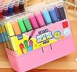 Arulinmz Schick 36 Farben Acrylfarbe Marker Stifte Permanent Farbe Kunst Aquarell Pen-Set (Pink)