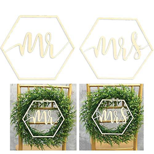 outgeek 2 STÜCKE Mr und Mrs Hochzeit Stuhl Banner Schild Zeichen Holz Dekorative Hochzeit Zeichen Hochzeit Stuhl Dekoration Scripted Holz Brief Zeichen Dekoration