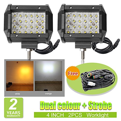 LED Work Light Bar Strobe worklights 10,2 cm 4 Zoll Dual Farbe (3000 K/6500 K) Nebelleuchten Für LKW Boot Offroad Auto Van Wohnmobil SUV ATV (Road Strobe Led Off Lichtleiste)