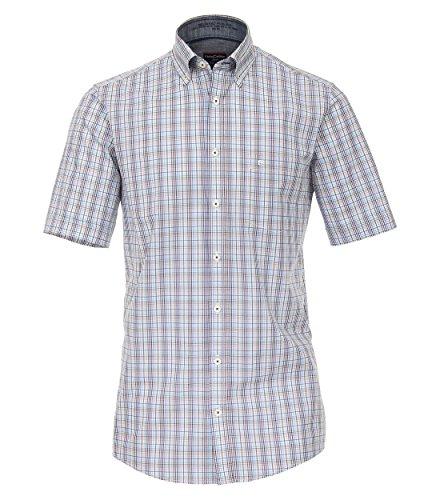 Michaelax-Fashion-Trade Camicia Classiche - A Quadri - con Bottoni - Maniche Corte - Uomo Beige (600)