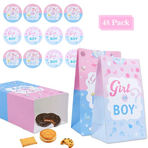 Amycute 24 Stück Babyparty Geschlecht Gender Reveal Party Dekorationen Boy or Girl Papiertüten Papierbeutel Kraftpapiertüten, Butterbrottüten, Süßigkeiten, Geschenkverpackung, 20 x 11 x 8 cm.