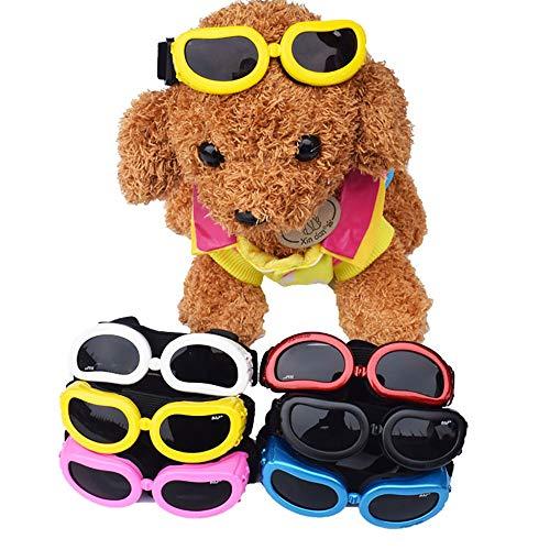 JFS Hund Sonnenbrille uv, Faltbare pet Puppy Dog   uv schutzbrille 3er Set das mittlere Faltbare Design kann den augenabstand der Liebe einstellen,M