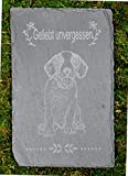 Tiergrabstein Grabstein Trauerstein Tiergrabstein Gedenkstein Naturstein Schiefer Hund