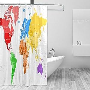ISAOA Cortina de ducha para baño 100% poliéster impermeable a prueba de moho antibacteriano 180 x 180 cm con 12 ganchos cortinas de colores mapa del mundo decoración para el hogar y hotel