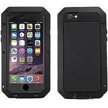 Alienwork Funda para iPhone 6/6s adecuada para la huella dactilar protectora bumper case prueba de choques Prueba de Polvo Anti-nieve Metal negro AP610-01