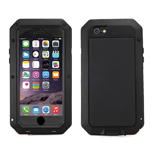 Galleria fotografica Alienwork Custodia per iPhone 6/6s adatto per impronte Cover Case Bumper antiurto Antipolvere Anti-neige Metallo nero AP610-01