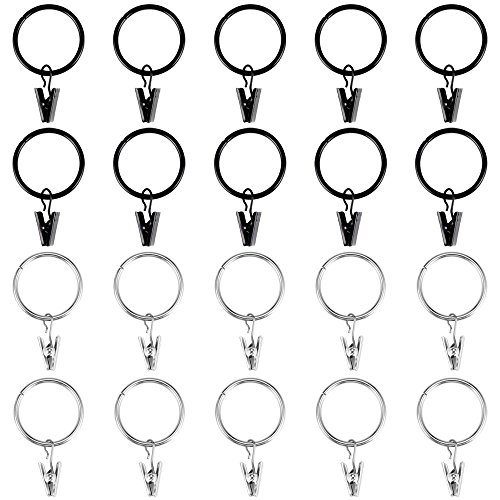 Jalan 20 Stück Gardinen Ringe Klammern, Metall Vorhang Ringe Clip für Gardinenstangen mit 32 mm Innendurchmesser, rostfrei und glatt, Silber und schwarz