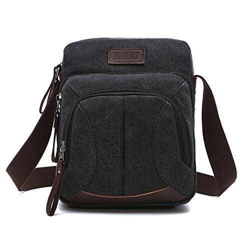 Outreo Herren Umhängetasche Schule Kuriertasche Vintage Taschen Schultertasche Reisen Herrentaschen Messenger Bag für Laptop Reisetaschen Handtasche Canvas Schwarz