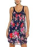 HOTOUCH Damen Badeanzug Einteiles Badekleid Blumen Druck Chiffon Beachwear Strandkleid