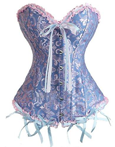 Camellias Damen Bridal Wäsche schnürt sich oben Satin ohne Knochen Waist Cincher Korsett mit G-Schnur Blau,UK-SZ1070-Blue-L