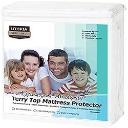 Utopia Bedding Protège-Matelas Imperméable Hypo-allergénique de Qualité Supérieure - sans Vinyle - Couvre-Matelas Ajustée (160 x 200 cm)