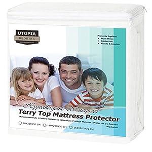 Utopia Bedding Premium 200 GSM 100% Wasserdichter Matratzenschoner, Baumwolle Frottee Matratzenbezug, Atmungsaktiv…